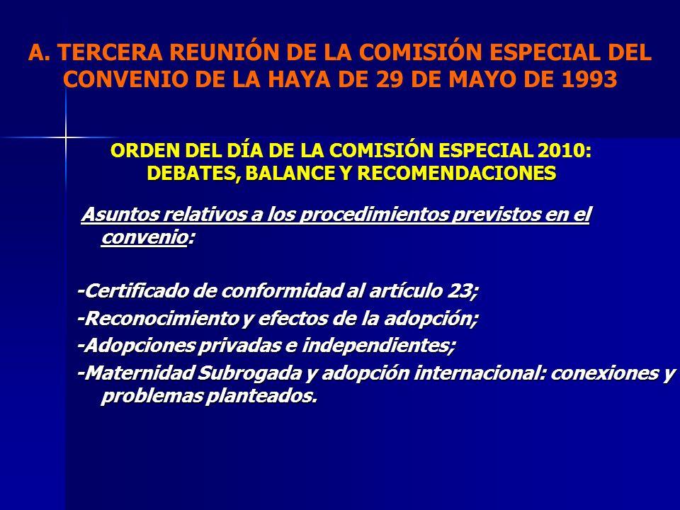 ORDEN DEL DÍA DE LA COMISIÓN ESPECIAL 2010: DEBATES, BALANCE Y RECOMENDACIONES A. TERCERA REUNIÓN DE LA COMISIÓN ESPECIAL DEL CONVENIO DE LA HAYA DE 2