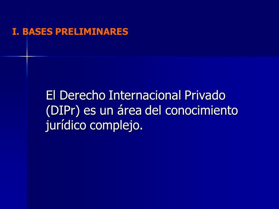 I. BASES PRELIMINARES El Derecho Internacional Privado (DIPr) es un área del conocimiento jurídico complejo.