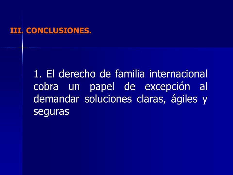 III. CONCLUSIONES. 1. El derecho de familia internacional cobra un papel de excepción al demandar soluciones claras, ágiles y seguras