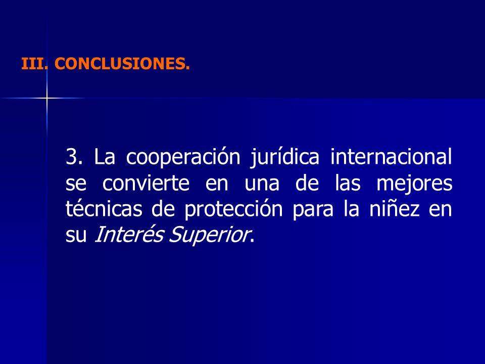 III. CONCLUSIONES. 3. La cooperación jurídica internacional se convierte en una de las mejores técnicas de protección para la niñez en su Interés Supe
