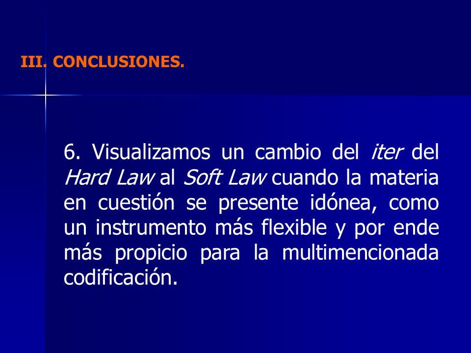 III. CONCLUSIONES. 6. Visualizamos un cambio del iter del Hard Law al Soft Law cuando la materia en cuestión se presente idónea, como un instrumento m