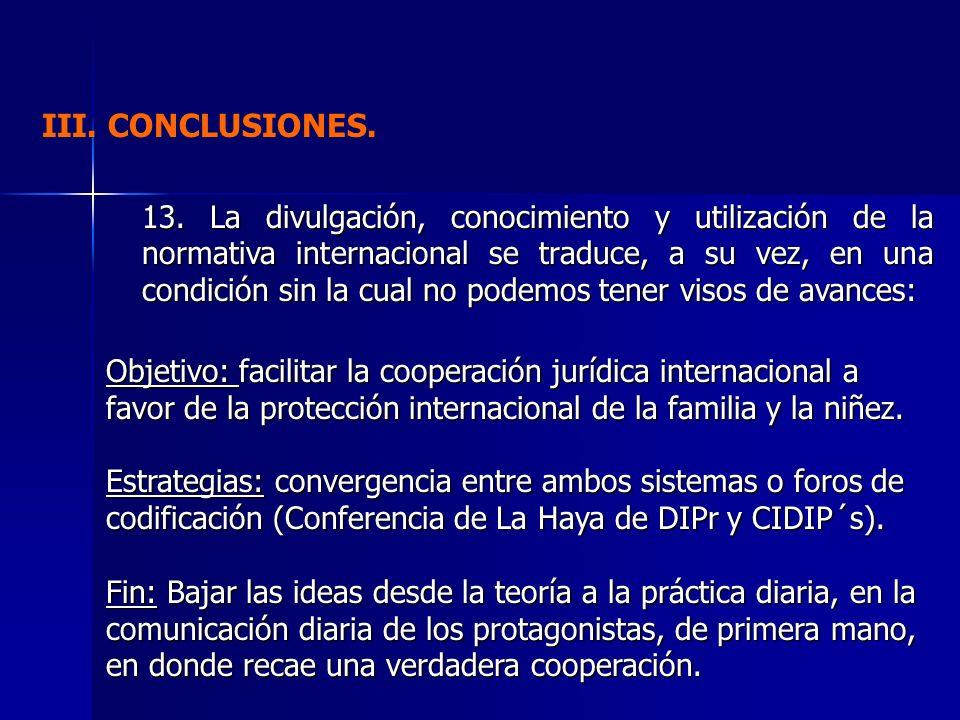 III. CONCLUSIONES. 13. La divulgación, conocimiento y utilización de la normativa internacional se traduce, a su vez, en una condición sin la cual no