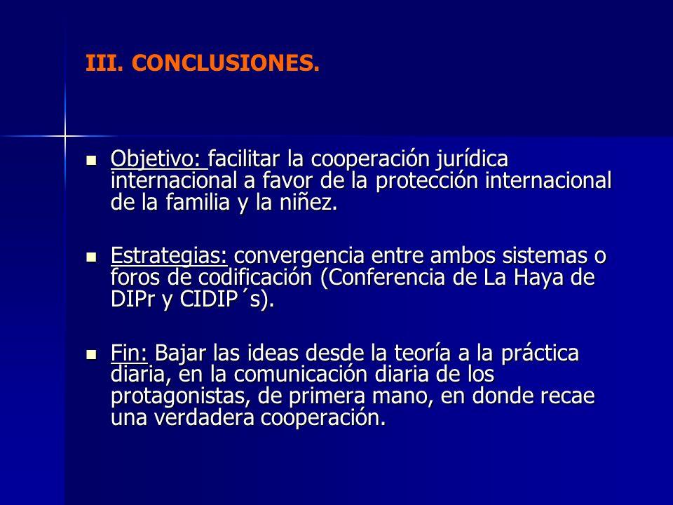 III. CONCLUSIONES. Objetivo: facilitar la cooperación jurídica internacional a favor de la protección internacional de la familia y la niñez. Objetivo