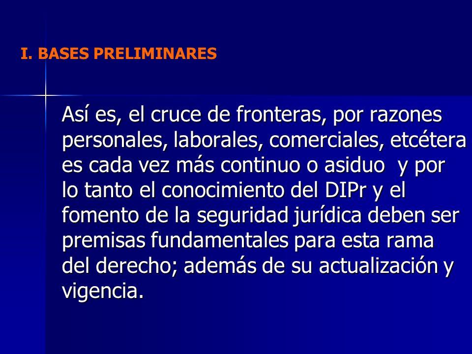 I.BASES PRELIMINARES B. LA CODIFICACIÓN DEL DERECHO INTERNACIONAL PRIVADO INTERAMERICANO.