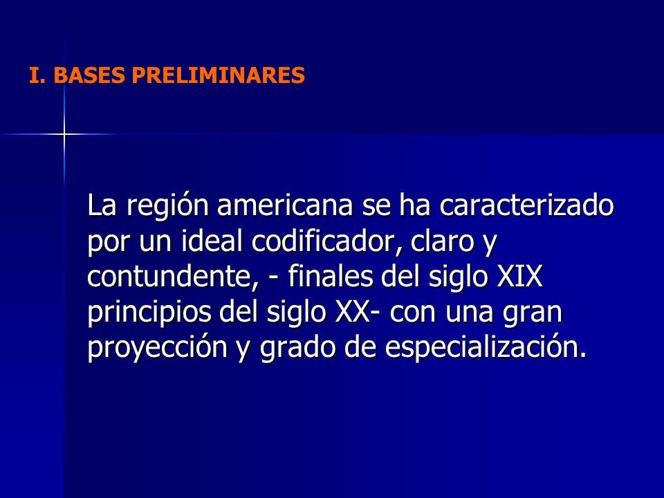 La región americana se ha caracterizado por un ideal codificador, claro y contundente, - finales del siglo XIX principios del siglo XX- con una gran p