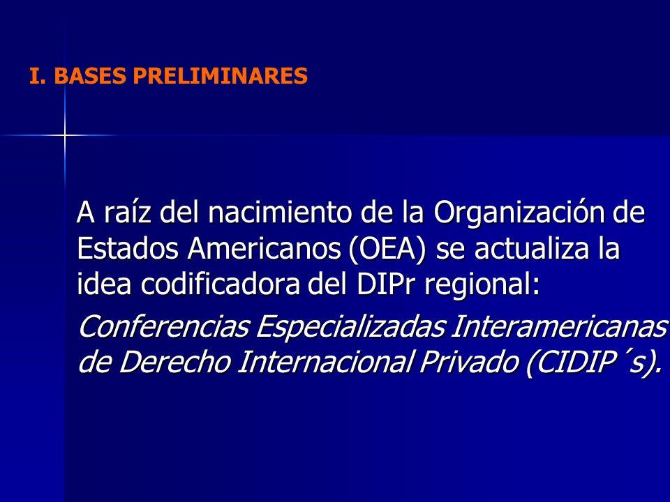 A raíz del nacimiento de la Organización de Estados Americanos (OEA) se actualiza la idea codificadora del DIPr regional: Conferencias Especializadas