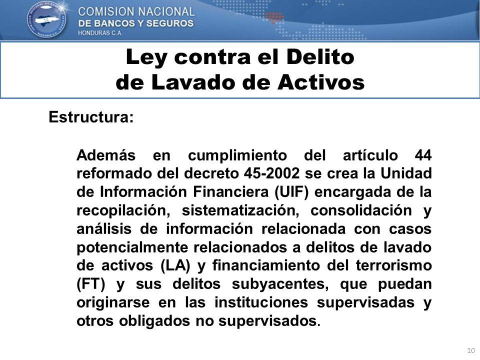 10 Ley contra el Delito de Lavado de Activos MARCO INTERNACIONAL Estructura: Además en cumplimiento del artículo 44 reformado del decreto 45-2002 se c