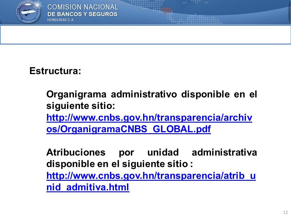 12 MARCO INTERNACIONAL Estructura: Organigrama administrativo disponible en el siguiente sitio: http://www.cnbs.gov.hn/transparencia/archiv os/Organig