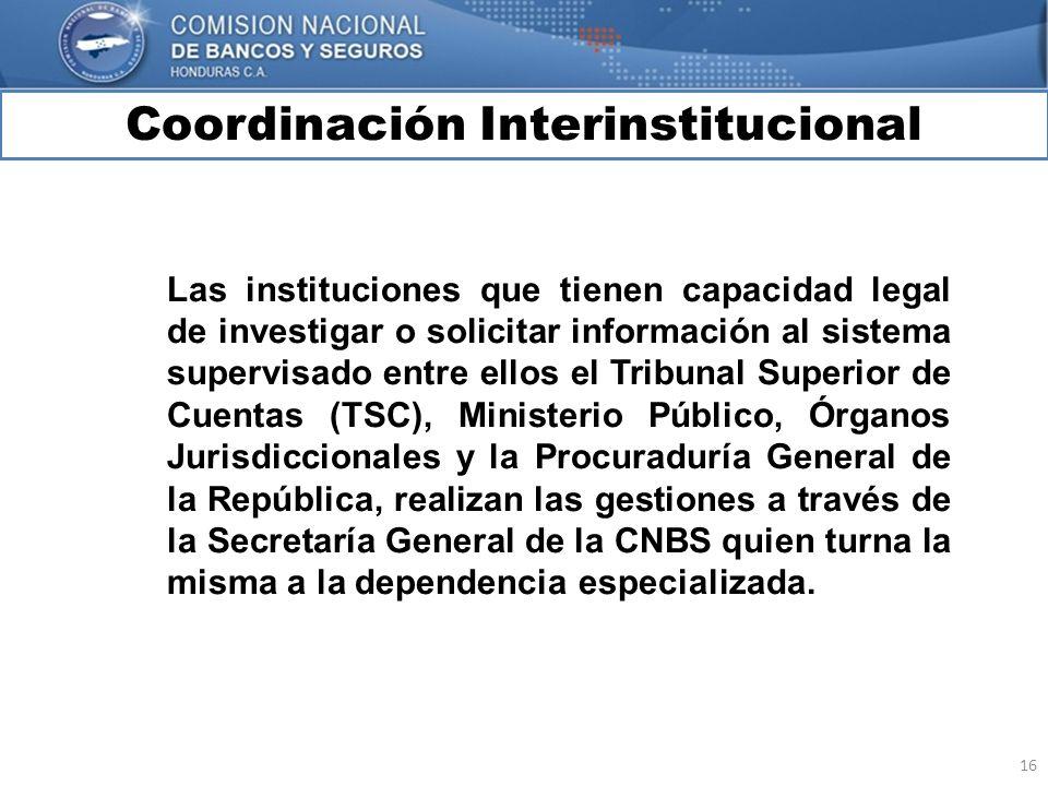 16 Coordinación Interinstitucional MARCO INTERNACIONAL Las instituciones que tienen capacidad legal de investigar o solicitar información al sistema s