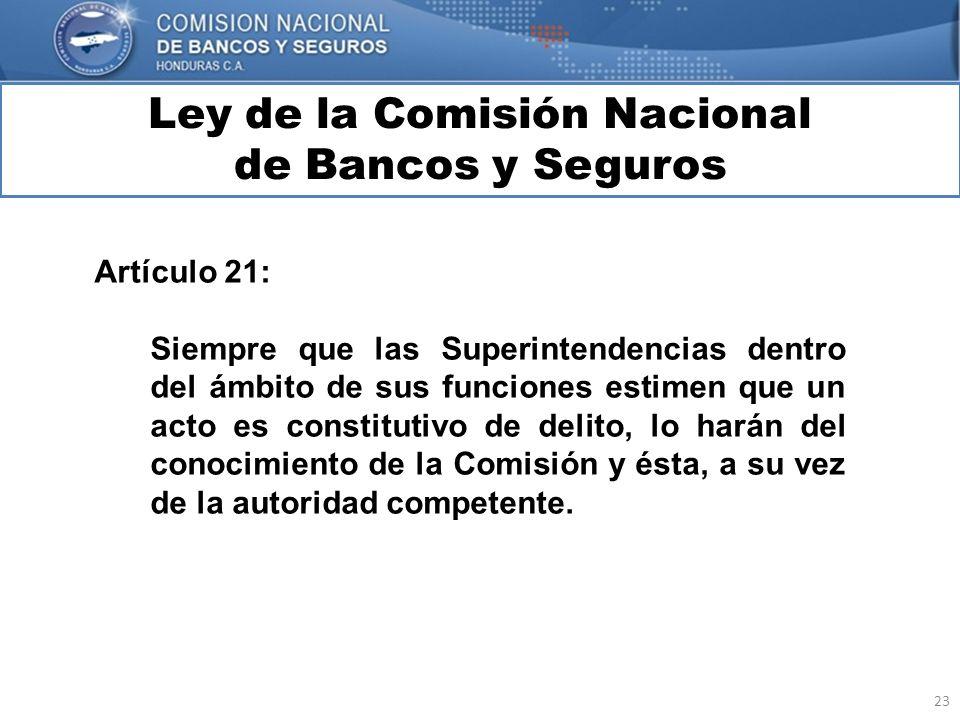 23 Ley de la Comisión Nacional de Bancos y Seguros MARCO INTERNACIONAL Artículo 21: Siempre que las Superintendencias dentro del ámbito de sus funcion