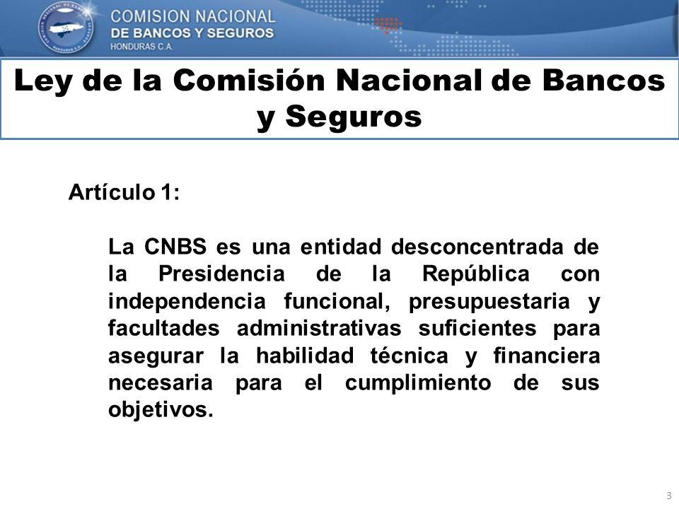 3 Ley de la Comisión Nacional de Bancos y Seguros MARCO INTERNACIONAL Artículo 1: La CNBS es una entidad desconcentrada de la Presidencia de la Repúbl