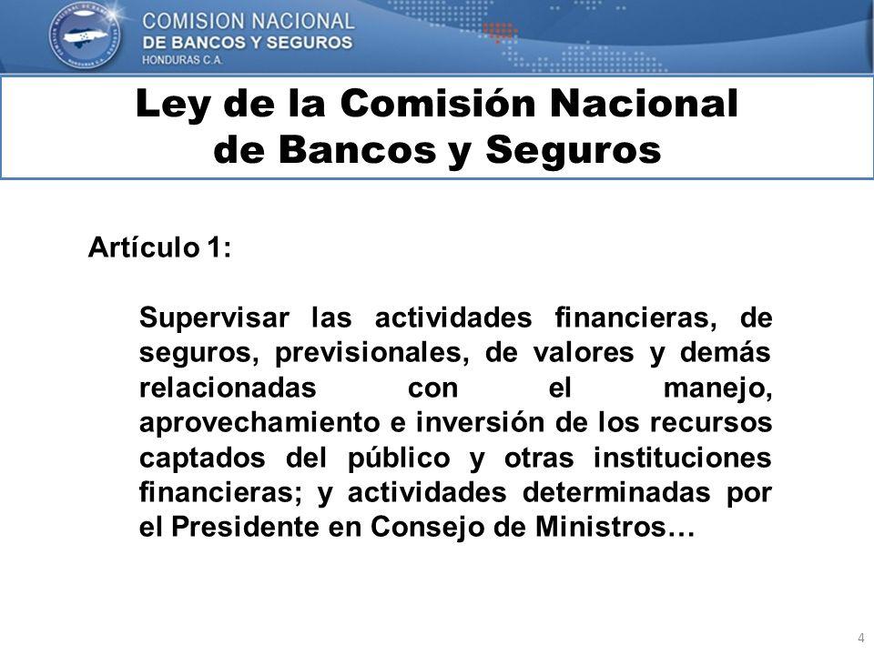 4 Ley de la Comisión Nacional de Bancos y Seguros MARCO INTERNACIONAL Artículo 1: Supervisar las actividades financieras, de seguros, previsionales, d