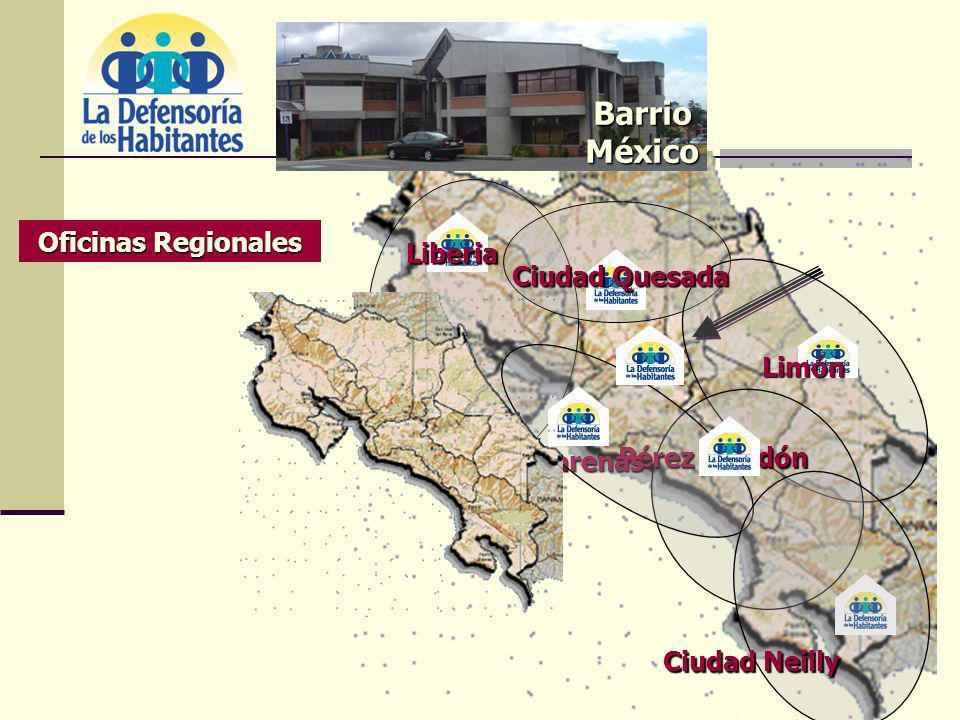 Barrio México Oficinas Regionales Liberia Ciudad Quesada Limón Pérez Zeledón Puntarenas Ciudad Neilly