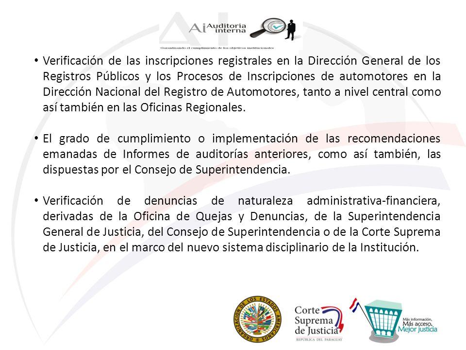 Verificación de las inscripciones registrales en la Dirección General de los Registros Públicos y los Procesos de Inscripciones de automotores en la D