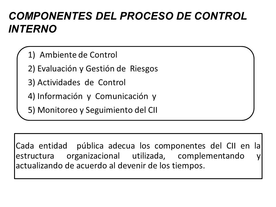 COMPONENTES DEL PROCESO DE CONTROL INTERNO 1) Ambiente de Control 2) Evaluación y Gestión de Riesgos 3) Actividades de Control 4) Información y Comuni