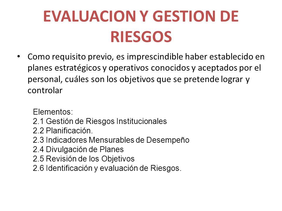 EVALUACION Y GESTION DE RIESGOS Como requisito previo, es imprescindible haber establecido en planes estratégicos y operativos conocidos y aceptados p