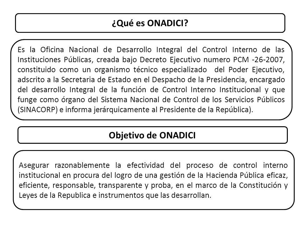¿Qué es ONADICI? Es la Oficina Nacional de Desarrollo Integral del Control Interno de las Instituciones Públicas, creada bajo Decreto Ejecutivo numero