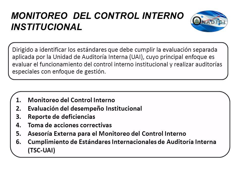 MONITOREO DEL CONTROL INTERNO INSTITUCIONAL Dirigido a identificar los estándares que debe cumplir la evaluación separada aplicada por la Unidad de Au