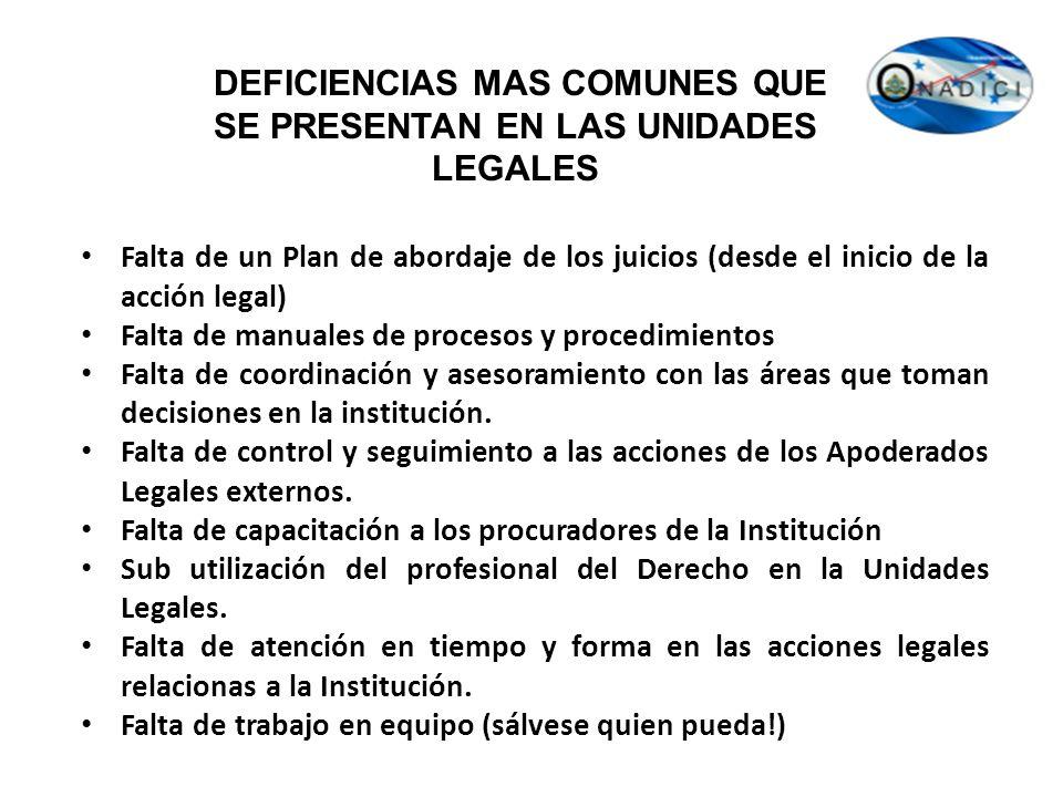 DEFICIENCIAS MAS COMUNES QUE SE PRESENTAN EN LAS UNIDADES LEGALES Falta de un Plan de abordaje de los juicios (desde el inicio de la acción legal) Fal