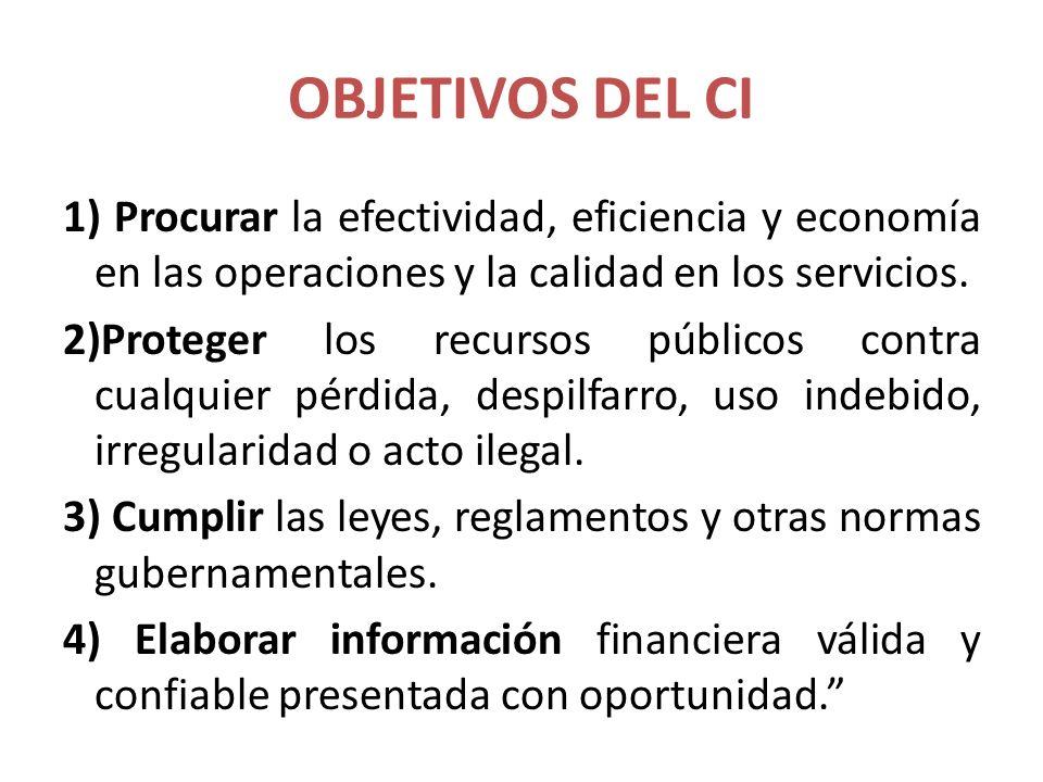 OBJETIVOS DEL CI 1) Procurar la efectividad, eficiencia y economía en las operaciones y la calidad en los servicios. 2)Proteger los recursos públicos
