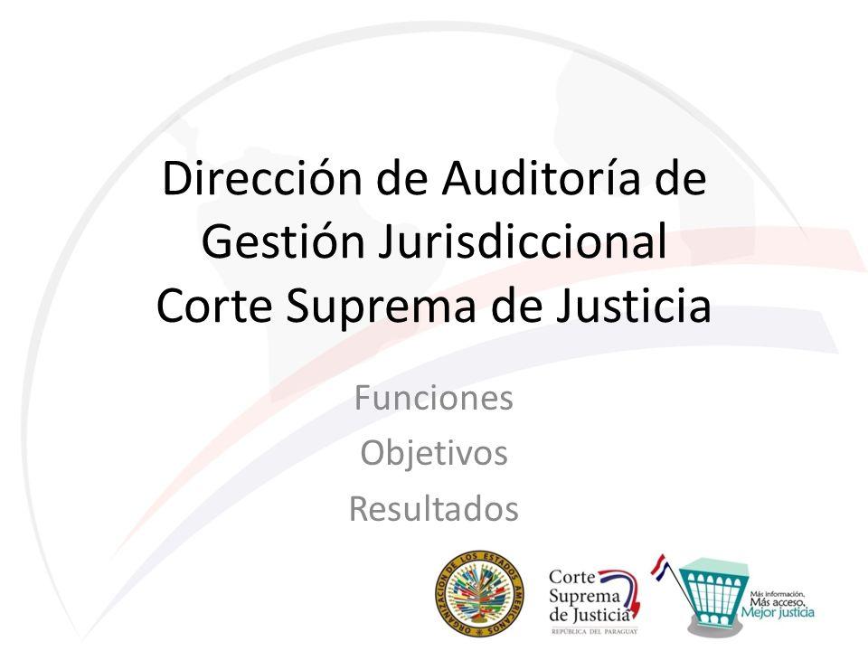 Dirección de Auditoría de Gestión Jurisdiccional Corte Suprema de Justicia Funciones Objetivos Resultados