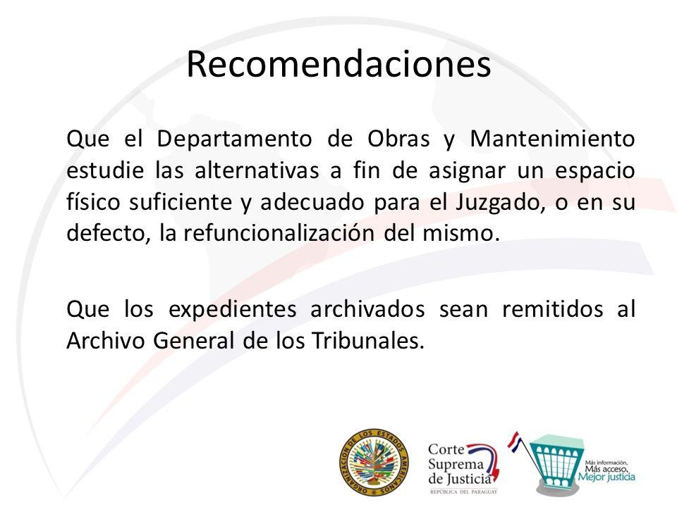 Recomendaciones Que el Departamento de Obras y Mantenimiento estudie las alternativas a fin de asignar un espacio físico suficiente y adecuado para el