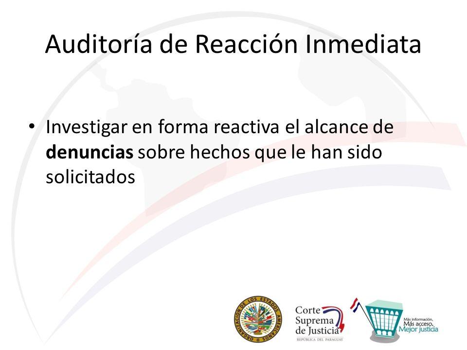 Auditoría de Reacción Inmediata Investigar en forma reactiva el alcance de denuncias sobre hechos que le han sido solicitados