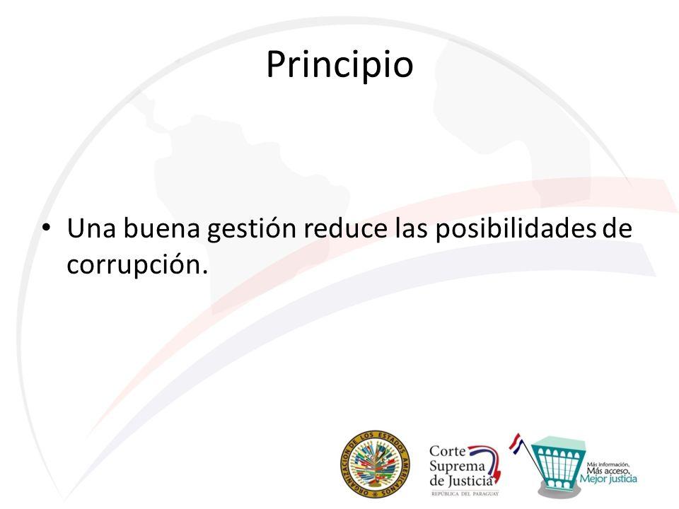 Principio Una buena gestión reduce las posibilidades de corrupción.