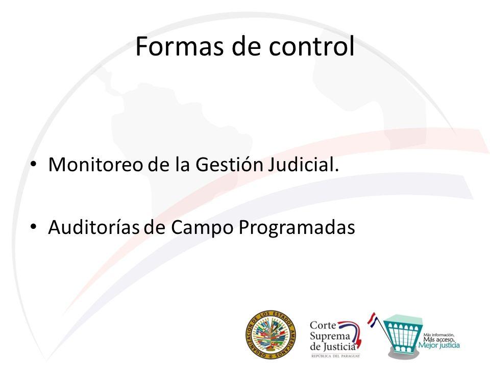Formas de control Monitoreo de la Gestión Judicial. Auditorías de Campo Programadas