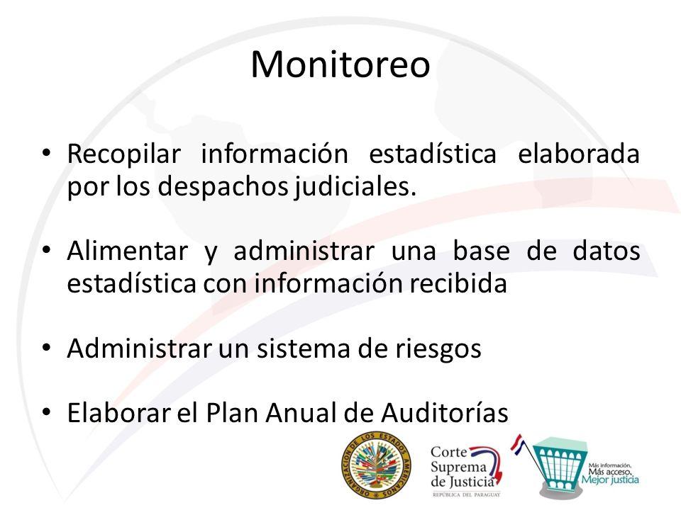 Monitoreo Recopilar información estadística elaborada por los despachos judiciales. Alimentar y administrar una base de datos estadística con informac