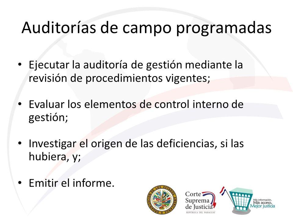 Auditorías de campo programadas Ejecutar la auditoría de gestión mediante la revisión de procedimientos vigentes; Evaluar los elementos de control interno de gestión; Investigar el origen de las deficiencias, si las hubiera, y; Emitir el informe.