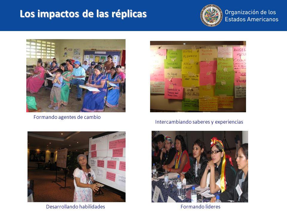 Desarrollando habilidades Formando agentes de cambio Intercambiando saberes y experiencias Formando lideres Los impactos de las réplicas