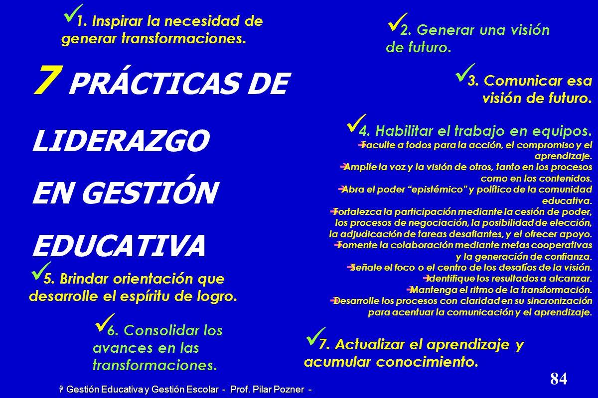 H Gestión Educativa y Gestión Escolar - Prof. Pilar Pozner Es preciso generar organizaciones llenas de vida. En este sentido, el liderazgo se vincula
