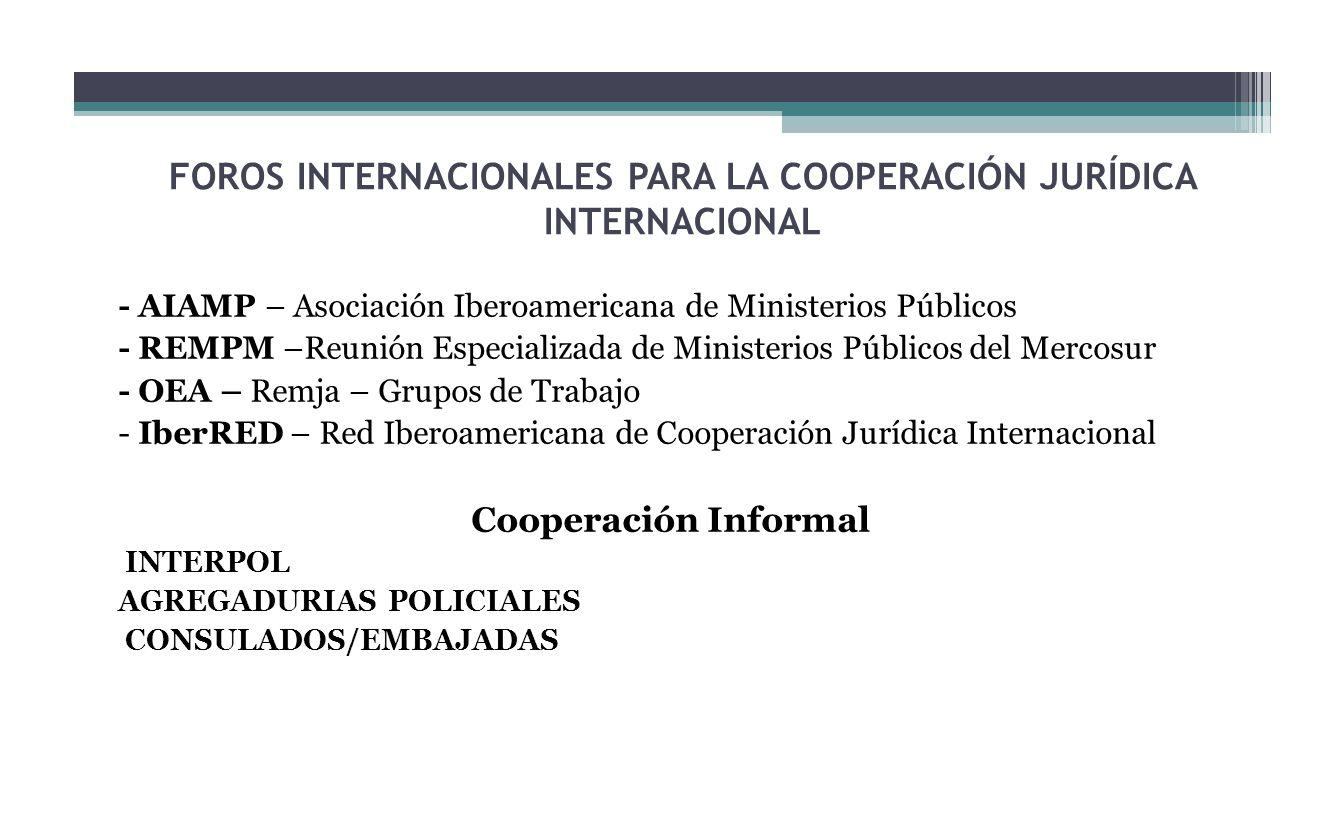 FOROS INTERNACIONALES PARA LA COOPERACIÓN JURÍDICA INTERNACIONAL - AIAMP – Asociación Iberoamericana de Ministerios Públicos - REMPM –Reunión Especial