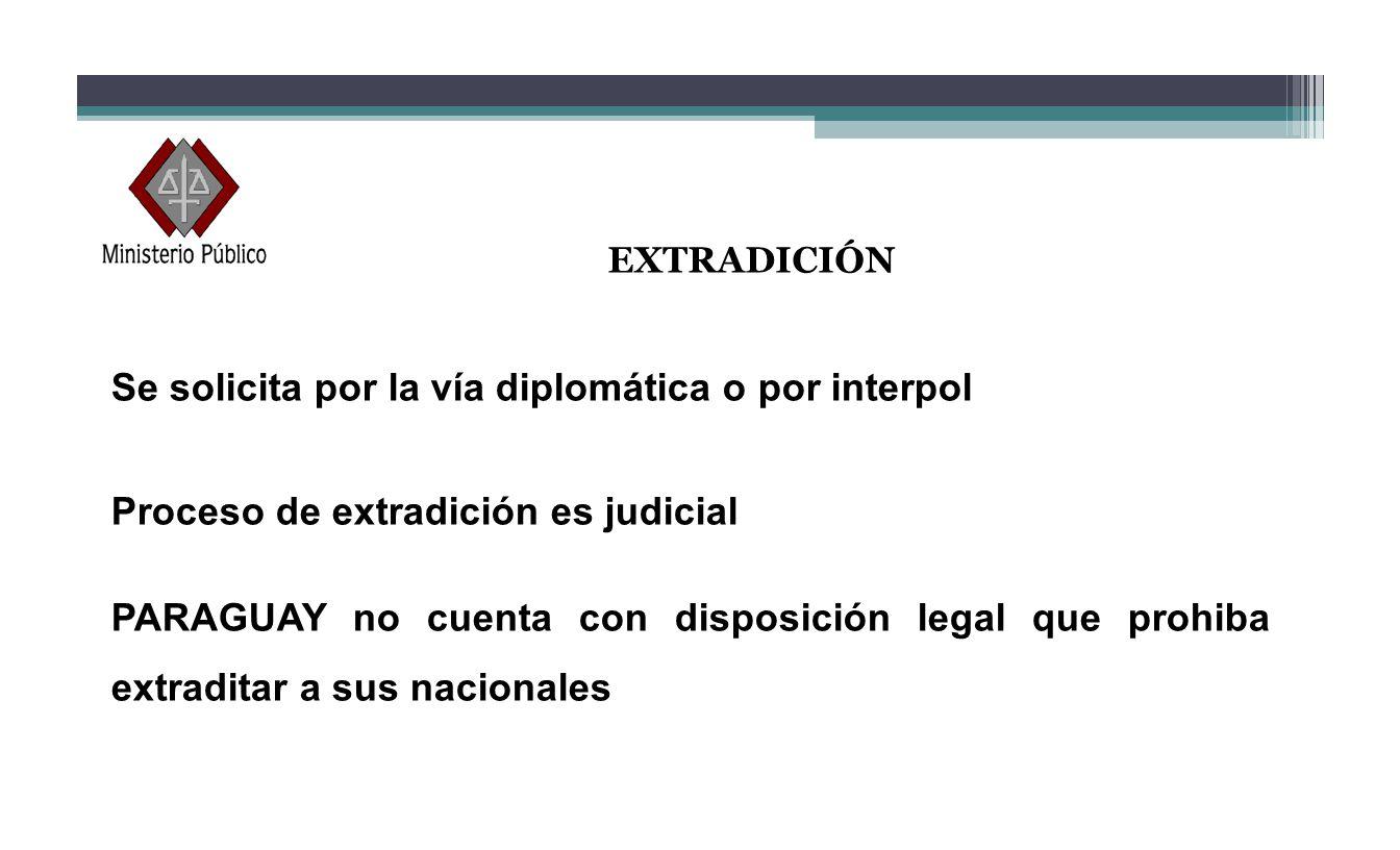 EXTRADICIÓN Se solicita por la vía diplomática o por interpol Proceso de extradición es judicial PARAGUAY no cuenta con disposición legal que prohiba