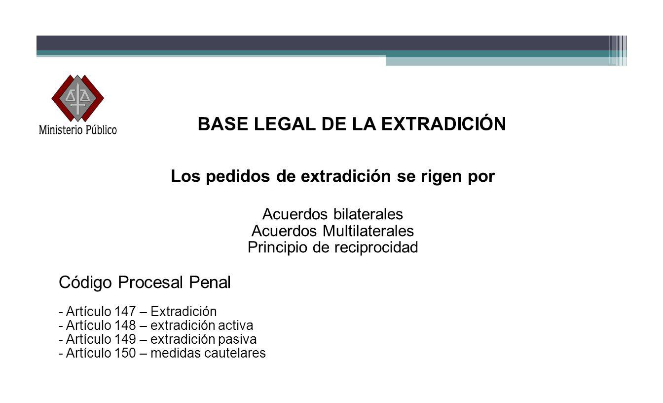 BASE LEGAL DE LA EXTRADICIÓN Los pedidos de extradición se rigen por Acuerdos bilaterales Acuerdos Multilaterales Principio de reciprocidad Código Pro