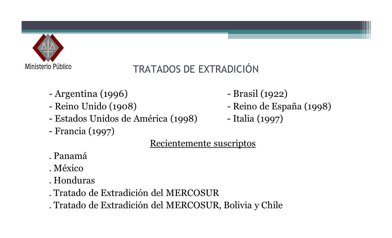 TRATADOS DE EXTRADICIÓN - Argentina (1996)- Brasil (1922) - Reino Unido (1908)- Reino de España (1998) - Estados Unidos de América (1998)- Italia (199