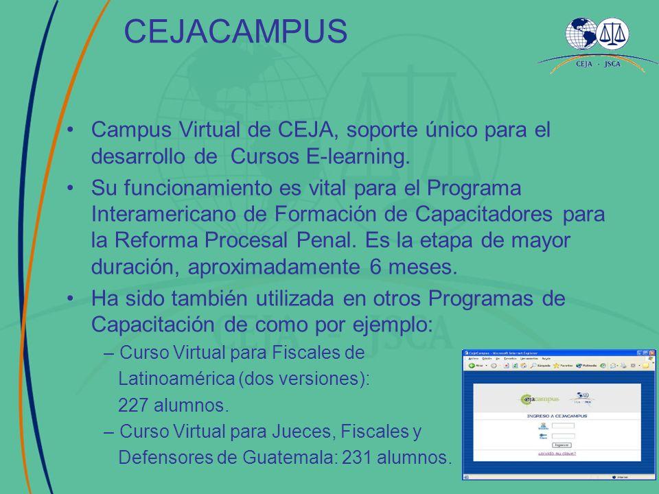 CEJACAMPUS Campus Virtual de CEJA, soporte único para el desarrollo de Cursos E-learning. Su funcionamiento es vital para el Programa Interamericano d