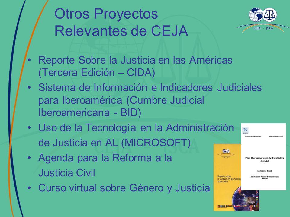 Otros Proyectos Relevantes de CEJA Reporte Sobre la Justicia en las Américas (Tercera Edición – CIDA) Sistema de Información e Indicadores Judiciales