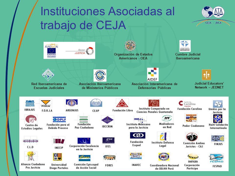 Instituciones Asociadas al trabajo de CEJA Judicial Educators Network – JEDNET Asociación Iberoamericana de Ministerios Públicos Asociación Interameri