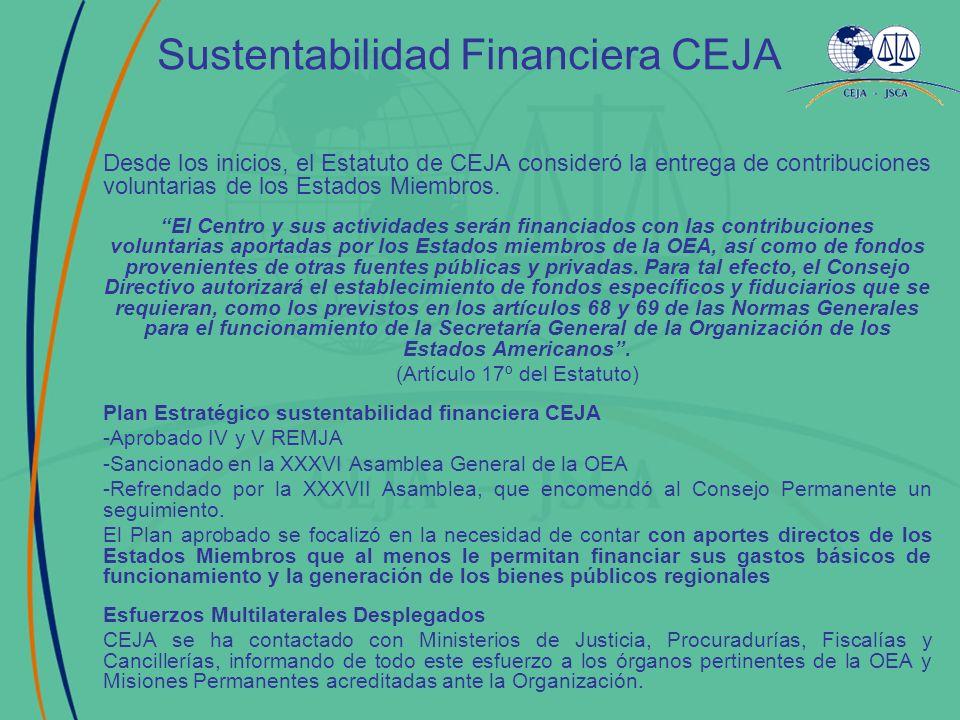 Sustentabilidad Financiera CEJA Desde los inicios, el Estatuto de CEJA consideró la entrega de contribuciones voluntarias de los Estados Miembros. El
