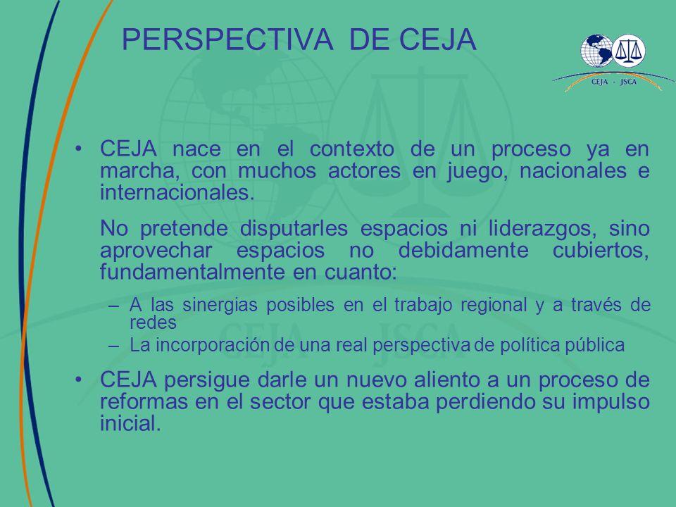 PASO 1: Conocimiento PASO 2: Generar debate PASO 3: Desarrollar Instrumentos PASO 4: Proyectos de Intervención ESTRATEGIA CEJAÁREAS DE ACCIÓN JUSTICIA PENAL GESTIÓN E INFORMACIÓN JUSTICIA CIVIL 2000 2002 2004 2005 2001 2003 2004 2005 2007 2008