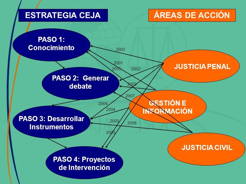 PASO 1: Conocimiento PASO 2: Generar debate PASO 3: Desarrollar Instrumentos PASO 4: Proyectos de Intervención ESTRATEGIA CEJAÁREAS DE ACCIÓN JUSTICIA