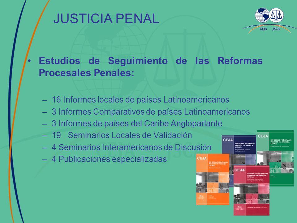 JUSTICIA PENAL Estudios de Seguimiento de las Reformas Procesales Penales: –16 Informes locales de países Latinoamericanos –3 Informes Comparativos de