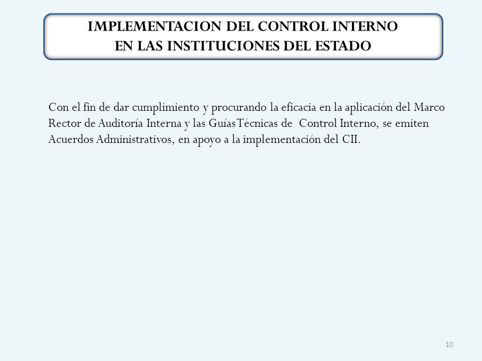 Con el fin de dar cumplimiento y procurando la eficacia en la aplicación del Marco Rector de Auditoría Interna y las Guías Técnicas de Control Interno, se emiten Acuerdos Administrativos, en apoyo a la implementación del CII.