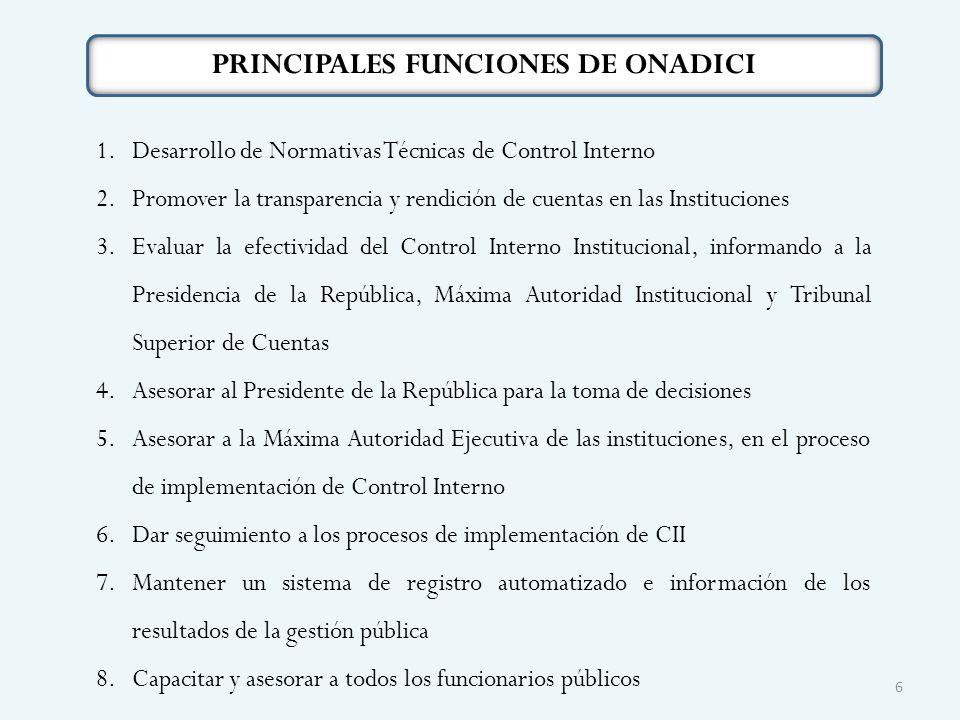 PRINCIPALES FUNCIONES DE ONADICI 1.Desarrollo de Normativas Técnicas de Control Interno 2.Promover la transparencia y rendición de cuentas en las Inst