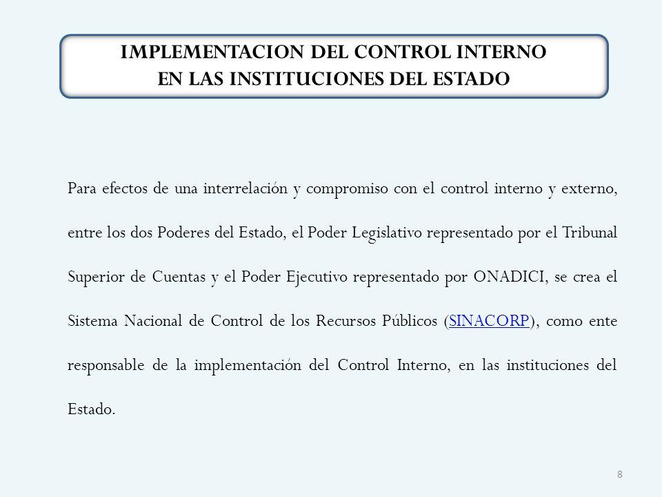 Para efectos de una interrelación y compromiso con el control interno y externo, entre los dos Poderes del Estado, el Poder Legislativo representado p