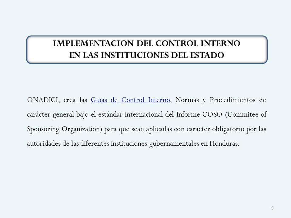 ONADICI, crea las Guías de Control Interno, Normas y Procedimientos de carácter general bajo el estándar internacional del Informe COSO (Commitee of S