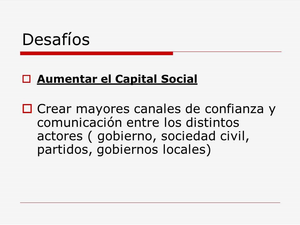 Desafíos Aumentar el Capital Social Crear mayores canales de confianza y comunicación entre los distintos actores ( gobierno, sociedad civil, partidos