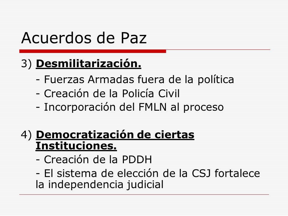 Acuerdos de Paz 3) Desmilitarización. - Fuerzas Armadas fuera de la política - Creación de la Policía Civil - Incorporación del FMLN al proceso 4) Dem